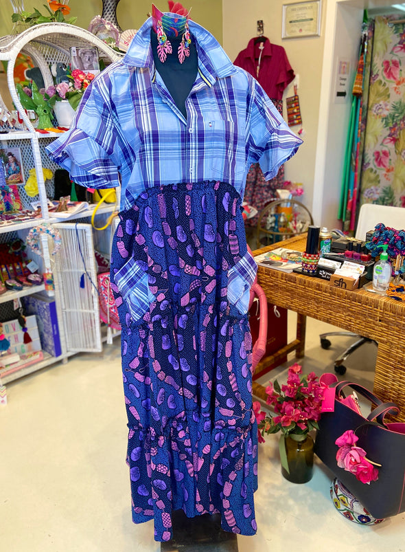 Ankara Shirt Dress - Purple Stripes