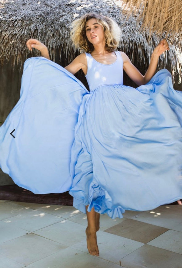 Goddess Maxi Dress in Sky Blue - Renee Loves Frances