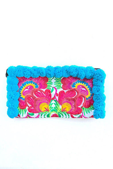 Aqua Days Pom Pom Colourful Clutch