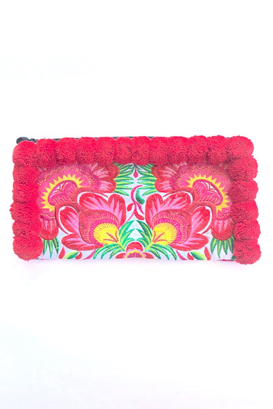 Ruby Red Pom Pom Colourful Clutch with 'Pink Peacocks'
