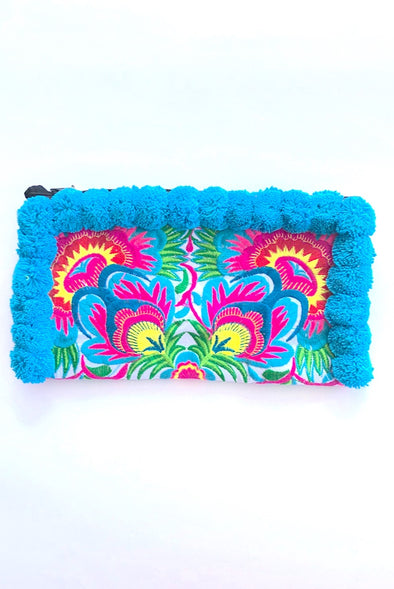 Sweet Blue Pom Pom Colourful Clutch with 'Blue Peacocks '