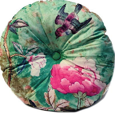 Chinoiserie Round Velvet Cushion