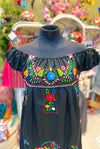 Mexican Bohemian Dress - Black