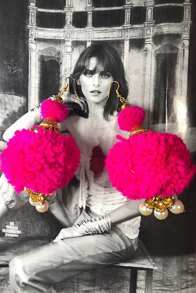 Pom Pearls in Hot Pink - The Immaculate Earring Collection