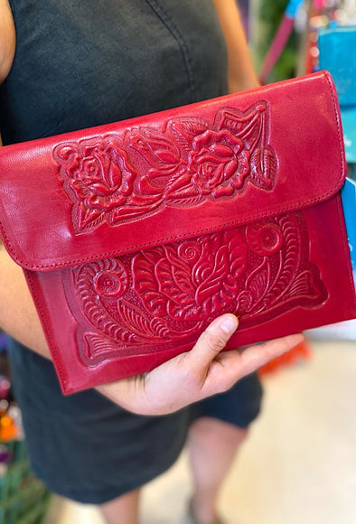 Mexican Analita Clutch  in Ruby Red