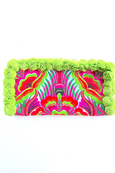 Very Lime Pom Pom Colourful Clutch with 'Pink Peacocks'
