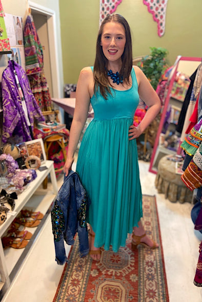 Goddess Maxi Dress in Turquoise - Renee Loves Frances
