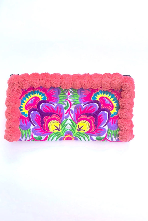 Candy Pink Pom Pom Colourful Clutch with 'Purple Peacocks'