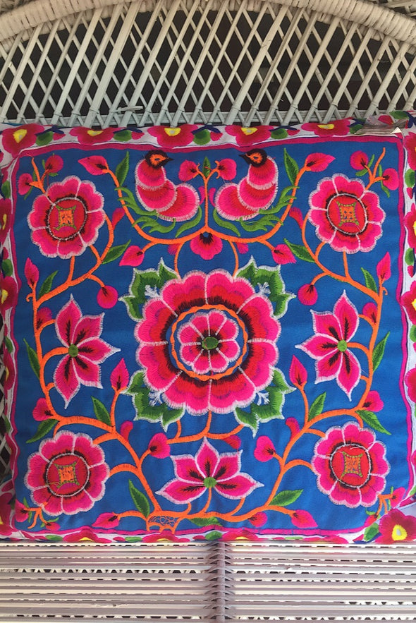 Blue Flower Embroidered Cushions