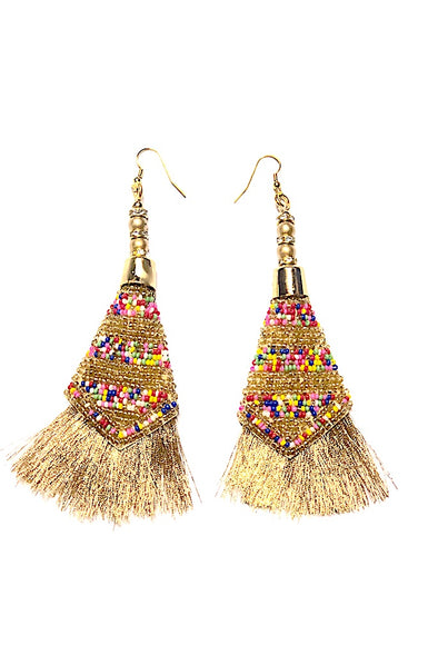 100's & 1000's Beaded Gold Tassel- Gorgeous Glamour Earring Collection