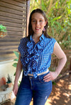 Blue Checked Up-cycled Ruffle Shirt - SFH Designs Original