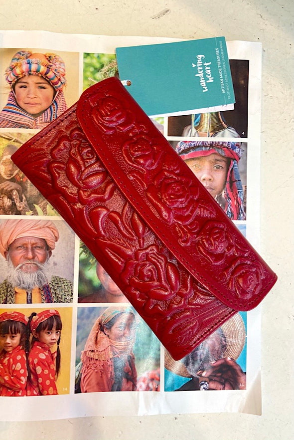 Gorgeous Mexican Leather Wallet in Red
