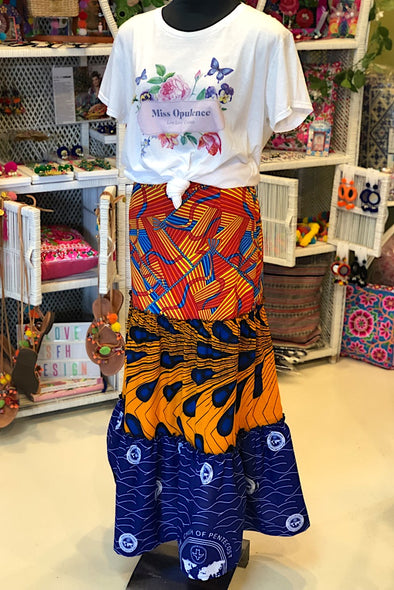 Orange & Blue Ankara Ruffles Skirt - SFH Designs Original