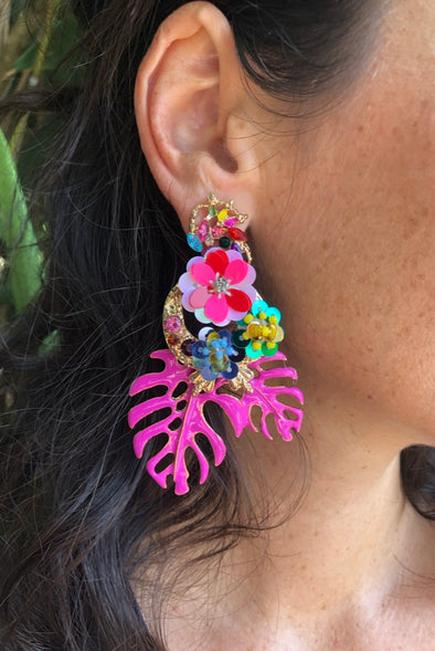 Pink Palms Pizzazz Earrings