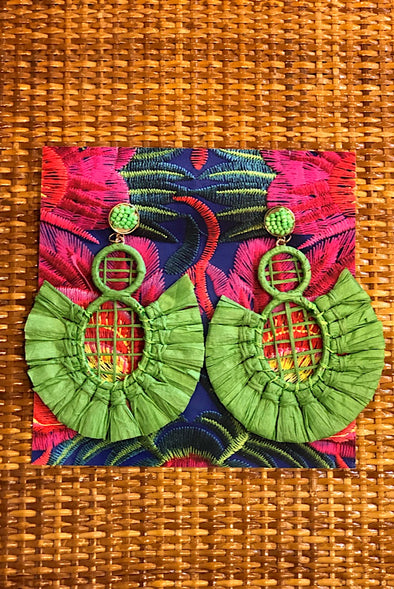Raffia Earrings in Key Lime