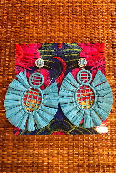 Raffia Earrings in Aqua Marine