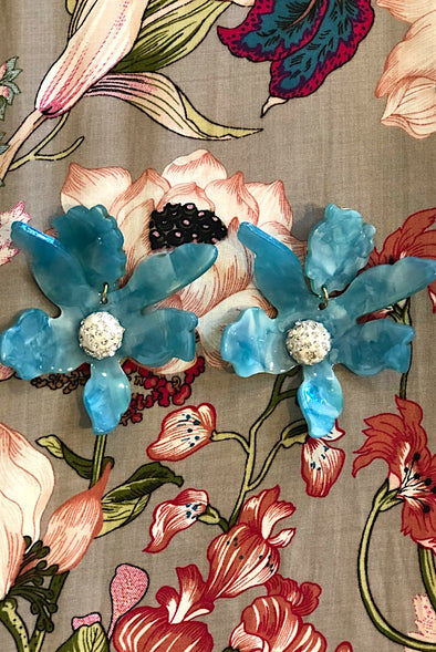 Aqua Orchid Clip-on Earrings