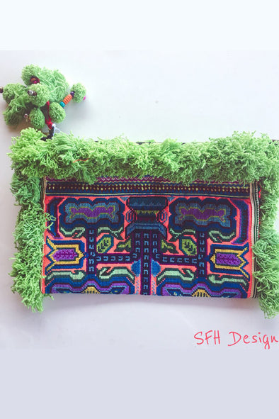 Paradise Clutch With Lime Green Fringing