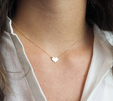 Fremttly Friendship Gift Handmade 14K Gold Filled Simple Delicate Heart Necklace Chokers Necklace-CK6-L Heart