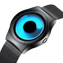 Mens Black Watches Men Waterproof Unique Design Cool Wrist Watch Stainless Steel Mesh Watch for Men Blue