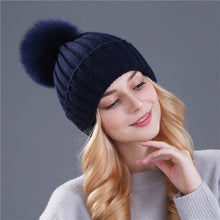 Faux Fur Hat Pompoms Beanie