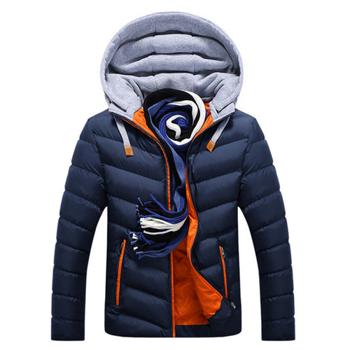 Men's Detachable Hat Warm Cotton Padded Coat