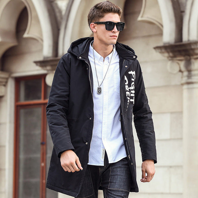 Pioneer Camp 2017 New black fashion Men parkas long style winter jacket men brand clothing high quality Wuyou