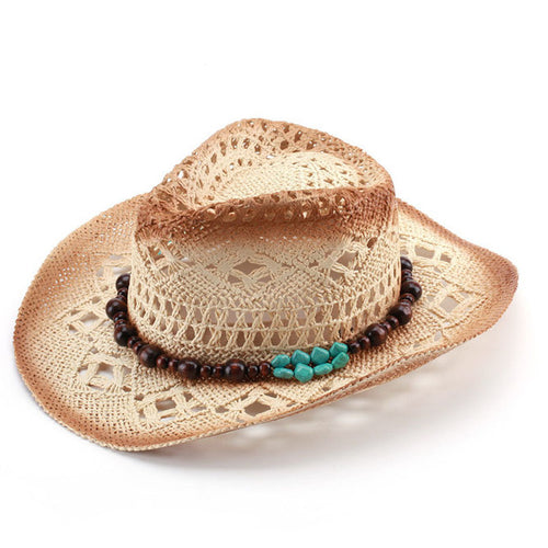 Classic Western Cowboy Straw Hat w/ Leather Band