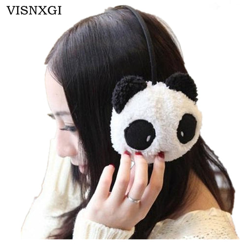 VISNXGI Women 2017 NEW Gilrs Black White Small Panda Design Pad Fluffy Ear Warmer Earmuffs Winter Cute Panda Ear Muff Warmer