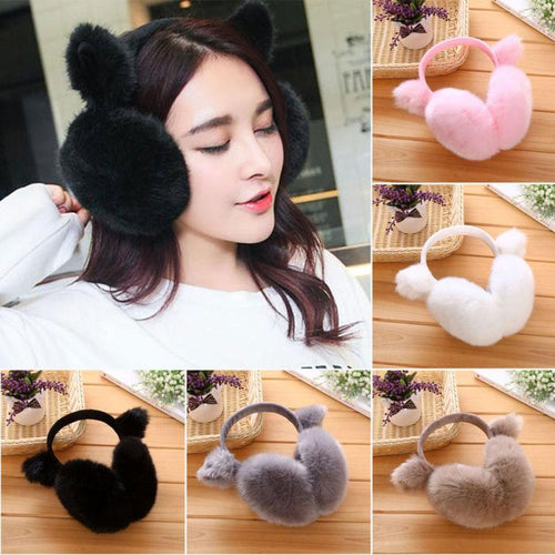 Winter Autumn Warm Fur Earmuffs Cute Cat Ear Earflap fur earmuff Earflap Ladies Plush Ear muffs Nauszniki Z2