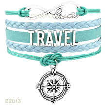 Infinity Love Travel Compass Leather Wrap Bracelet