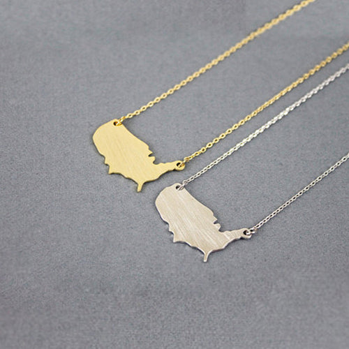 Vintage Stainless Steel American Map Necklace