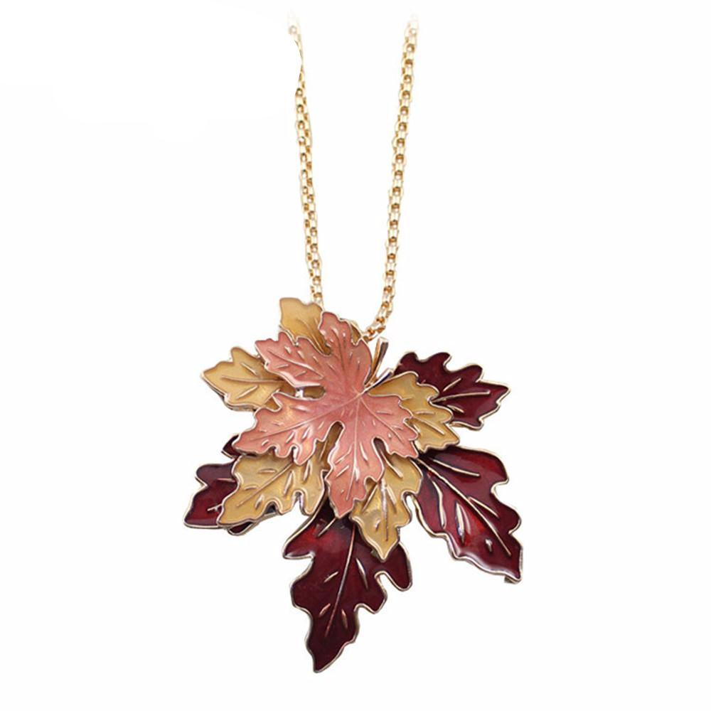 Maple Enamel Leaf Necklace