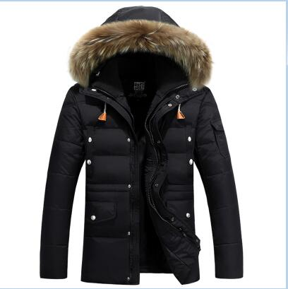 2017 New Arrival Men's Duck Down Jacket Mens Winter Coat Men Horn Button Big Natural Fur Collar With Hooded Coat