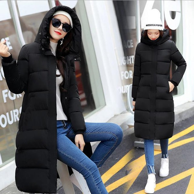 High Quality 2017 Winter Women Jackets Long Winter Jacket Women Warm Down Cotton Coat Female Thickening Warm Parka Hooded CM1396