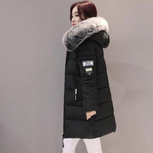 Women's Thick Fur Hooded Long Down Cotton Padded Coat