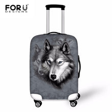 FORUDESIGNS Travel Luggage Protect Cover 3D Wolf Animal Waterproof Elastic Suitcase Cover For 18-30 Inch Trolley Case Rain Cover