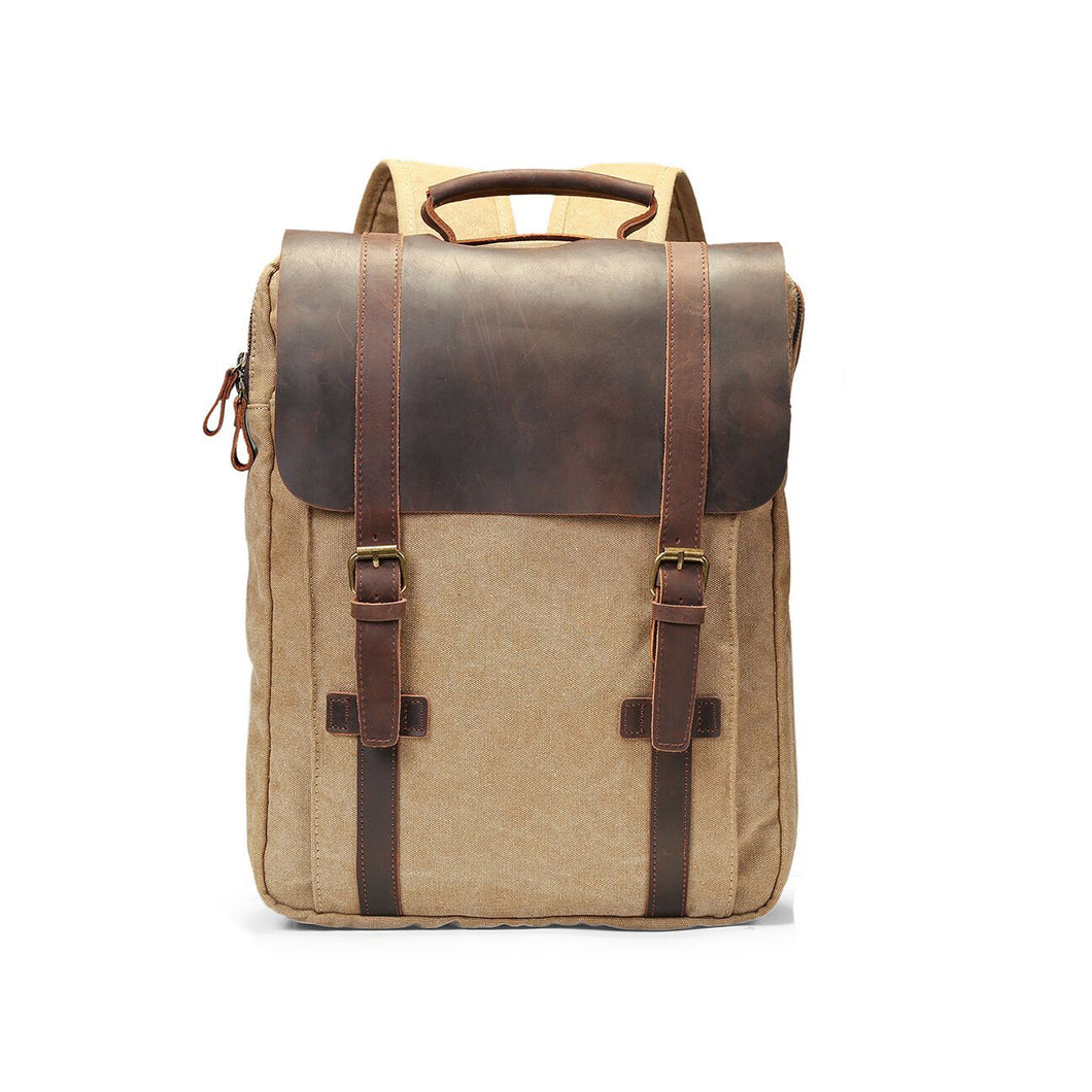 ECOSUSI Unisex Vintage Canvas Leather Laptop Backpack Rucksack Travel Bags Casual Daypacks - Fits laptop up to 15.6