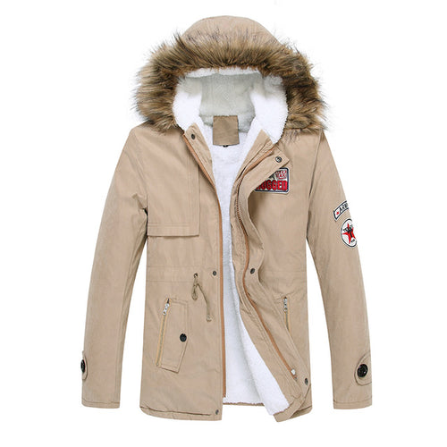 Men's Army Thick Fur Collar Coat