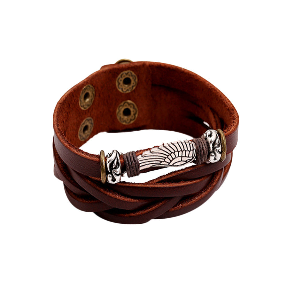 Wing Leather Mens Bracelet