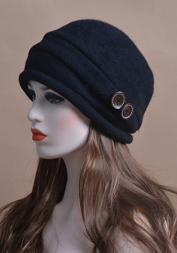 Wool Knitted Beanie With Button Crystal