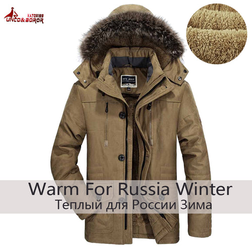 Warm winter jacket men long cotton fleece parka