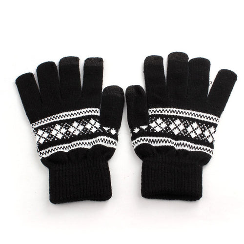 Snowflake Print Knitted Gloves