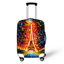 ELVISWORDS 3d Puzzle Eiffel Tower Print Travel Luggage Suitcase Protective Cover Waterproof Luggage Covers Elastic Suitcase Set