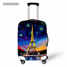 TWOHEARTSGIRL Eiffel Tower Print Travel Luggage Cover for 18-30inch Case Waterproof Zipper Suitcase Cover Durable Trolley Case