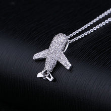 Cubic Zirconia Airplane Necklace