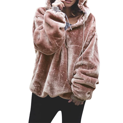 Womens Fluffy Sweater Warm Outwear Long Sleeve Hooded Sweatshirt Oversize Coat