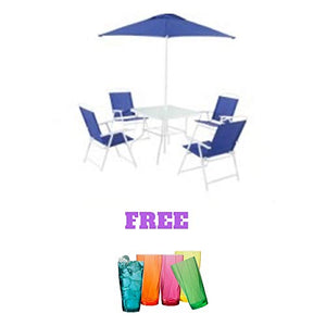 Folding Dining Set (Includes Dining Table, Folding Chairs and Umbrella) (6-Piece, Blue): Garden & Outdoor