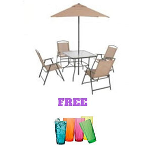 Folding Dining Set (Includes Dining Table, Folding Chairs and Umbrella) (6-Piece, Tan): Garden & Outdoor