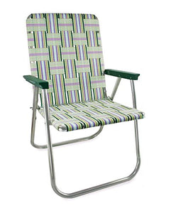 Webbing Chair (Deluxe, Spring Fling with Green Arms) : Garden & Outdoor